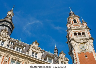 Chamber of commerce in Lille in a summer day under the blue sky