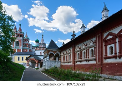 Chamber of tsarina with view to belfry and Trinity gate church towers of Savvino-Storozhevski monastery, located in Zvenigorod, an old town in Moscow region, Russia