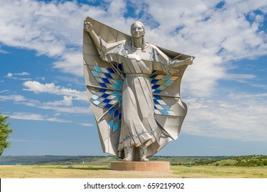 CHAMBERLAIN, SD/USA JUNE 3, 2017: Dignity sculpture of American Indian woman. Dignity is a sculpture on a bluff overlooking the Missouri River.