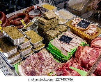 Chambersburg,Pa. USA 12/26/2018 display case at farmers market full of bacon ham Pennsylvania dutch scrapple pan haus and ring bologna