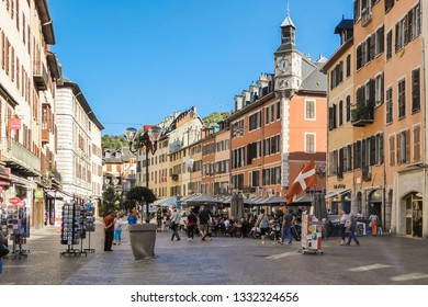 Chambery / Auvergne-Rhone-Alpes / France - 07-16-2016: Place Saint Leger with tourists and stores