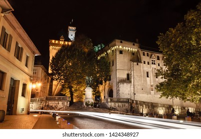 Chambery castle at night in medieval city center