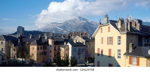 Chambery city, roofs, and mountains of Nivolet, landscape in Savoy, France