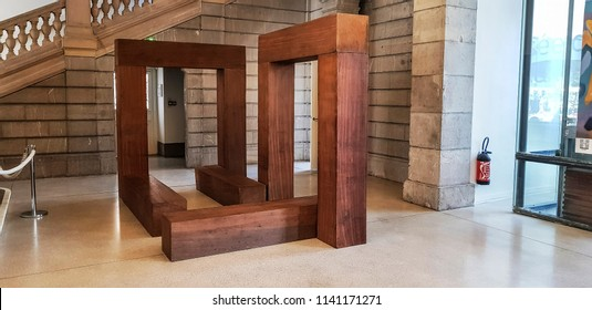 CHAMBERY, FRANCE - JULY 14, 2018: Interior of the Chambery Museum of Fine Arts  in the centre of Chambery, Haut Savoye, France