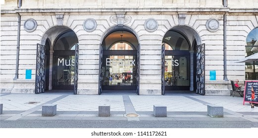 CHAMBERY, FRANCE - JULY 14, 2018: Entrance to the Chambery  Museum of Arts  in the centre of Chambery, Haut Savoye, France
