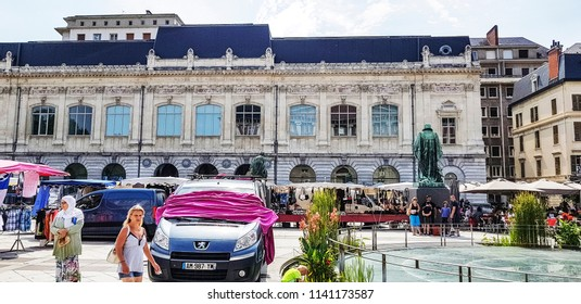 CHAMBERY, FRANCE - JULY 14, 2018: Facade of the Chambery Museum of Fine Arts  in the centre of Chambery, Haut Savoye, France
