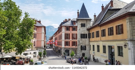CHAMBERY, FRANCE - JULY 14, 2018: View from the entrance of the Castle of the Duke of Savoye in the centre of Chambery, Haut Savoye, France