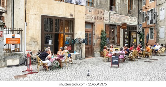 CHAMBERY, FRANCE - JULY 14, 2018: A restaurant in the centre of Chambery, Haut Savoye, France