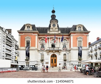 CHAMBERY, FRANCE - JULY 14, 2018: The Town Hall of Chambery in the centre of Chambery, Haut Savoye, France