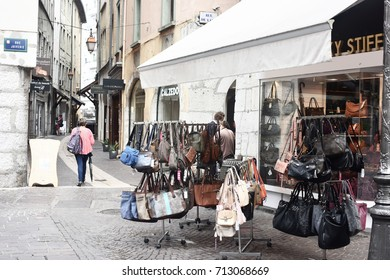 Chambery (Savoie) France, September 2016: Along a street of the old town center of Chambery, France.