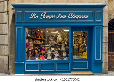 Chambery Savoy, France - August 2 2019: Hats Shop in Chambery