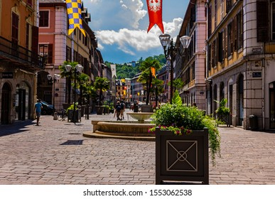 CHAMBERY; Auvergne-Rhône-Alps; SAVOY; FRANCE - July 7, 2019: View of flower pots and plants in the historic center, in summer.