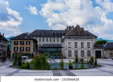 CHAMBERY; Auvergne-Rhône-Alps; SAVOY; FRANCE - July 7, 2019: View of the fountain in the Palace of Justice Square in the city center, in summer.