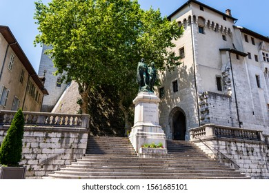 CHAMBERY; Auvergne-Rhône-Alps; SAVOY; FRANCE - July 7, 2019: View of the staircase of the Chambery Castle also known as the Castle of the Dukes of Savoy, in summer.