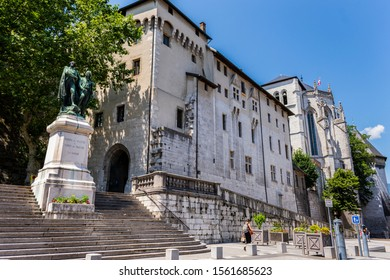 CHAMBERY; Auvergne-Rhône-Alps; SAVOY; FRANCE - July 7, 2019: View of the Castle of Chambery also known as the Castle of the Dukes of Savoy, in summer.