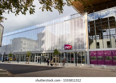 Chambery/France-November 09,2019:Chambery new modern architecture train railway station tourism travel french alpine mountain savoie france region  europe