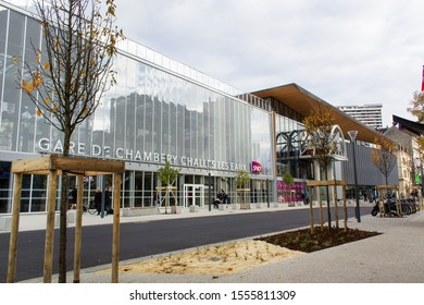 Chambery/France-November 09,2019:Chambery new train railway station modern architecture building  tourism travel french alps mountain savoie france region