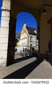 Chambery/France-October 11,2019: Chambery old city street view historical center architecture building tourism europe trip travel french alps mountain savoie france region vertical landmark