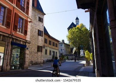 Chambery/France-October 11,2019: City historical center street view architecture building Chambery tourism travel bicycle walk french alps mountain savoie france region