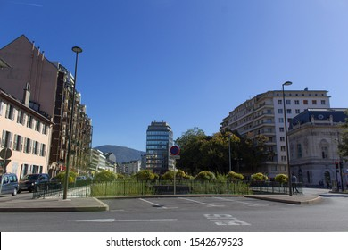 Chambery/France-October 11,2019: Modern city view architecture building street of Chambery tourism travel french alps mountain savoie france region