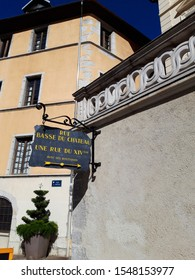 Chambery/France-October 11,2019: Rue Basse du chateau city historical center medieval walk street architecture building Chambery tourism travel french alps mountain savoie france region vertical image