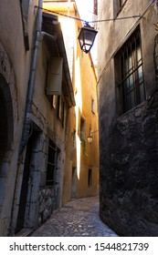 Chambery/France-October 11,2019: Rue Sainte Apolonie city historical center medieval walk street architecture building Chambery tourism travel french alps mountain savoie france region