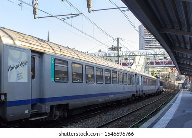 Chambery/France-October 11,2019: Train Rhone-Alpes transport express regional Chambery railway station tourism travel french alps mountain savoie france region