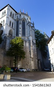 Chambery/France-October 11,2019:Chateau des ducs de savoie ancien architecture building city gothic vertical facade castle sightseeing tourism travel french alps savoie france region chambery