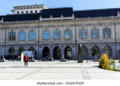 Chambery/France-October 11,2019:Musee Beaux Art architecture building city sightseeing museum art gallery tourism travel french alps mountain savoie france region chambery
