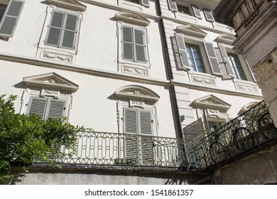Chambery/France-October 11,2019:Place du Chateau ancien french architecture detail building city facade sightseeing tourism travel french alps mountain savoie france region chambery