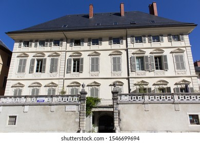 Chambery/France-October 11,2019:Place du Chateau city historical center hotel facade view architecture building Chambery tourism travel french alps mountain savoie france region