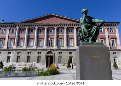 Chambery/France-October 11,2019:Place du Palais de Justice architecture building city sightseeing tribunal law court science sculpture tourism travel alps mountain savoie france region chambery