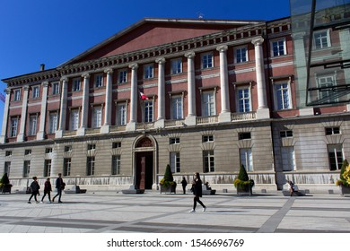 Chambery/France-October 11,2019:Place du Palais de Justice architecture building city tribunal law court tourism travel alps mountain savoie france region chambery