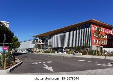 Chambery/France-October 11,2019:Railway train station gare modern city architecture building tourism travel french alps mountain savoie france region chambery