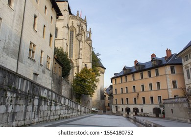 Chambery/France-October 23,2019: Place ducs du Chateau city historical center medieval street architecture building Chambery tourism travel french alps mountain savoie france region