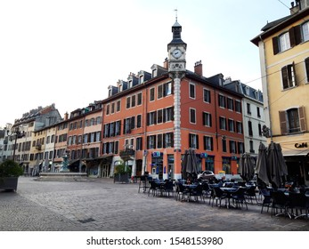 Chambery/France-October 23,2019: Place Saint Leger city historical center walk street architecture building Chambery tourism travel french alps mountain savoie france region