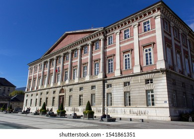 Chambery/France-October 8,2019:Place du Palais de Justice ancien architecture building city sightseeing tourism travel french alps mountain savoie france region chambery