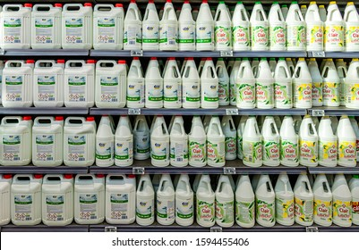 CHAMBLY, FRANCE - DECEMBER 20, 2019. Hypermarket, home maintenance department, bleach bottles.