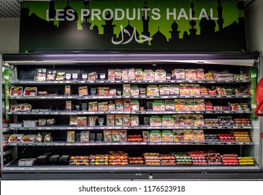 CHAMBLY, FRANCE - September 7th, 2018. Some products in a food ray Halal of a French supermarket.
