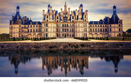 Chambord castle - greatest masterpiece of Renaissance architecture. France. Loire valley