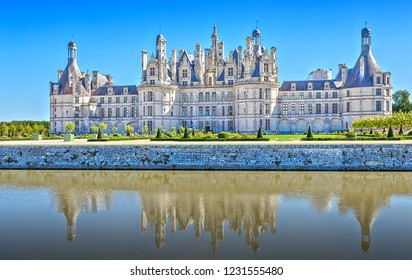 Chambord Castle - one of the castles of the Loire Valley and one of the most recognizable castles in France, a masterpiece of the Renaissance. Loir and Cher. France.