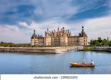 Chambord Castle, royal medieval french castle in Loire Valley, France. Unesco heritage site.