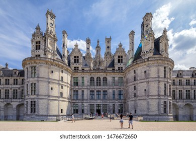 Chambord, France - August 03, 2019: : The castle of Chambord, Castle of the Loire, France. Chateau de Chambord, the largest castle in the Loire Valley. A UNESCO world heritage site in France