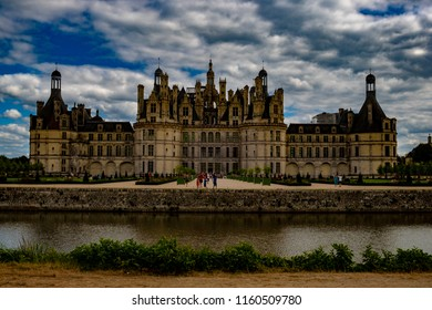Chambord, France, in august 12, 2018. View of the castle of Chambord from the river.