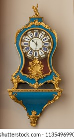 CHAMBORD, FRANCE - June 14, 2018: Antique wall clock in Château de Chambord in the Loire Valley of France