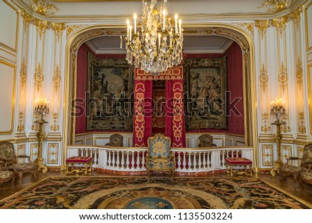 CHAMBORD, FRANCE - June 14, 2018: Ornately decorated room in Château de Chambord in the Loire Valley of France