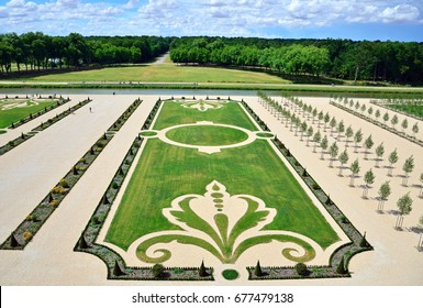 CHAMBORD, FRANCE - JUNE 27, 2017: Gardens at Chateau de Chambord are French-style gardens in eighteenth century that had been recreated and are opened to the public in 2017.