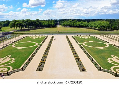 CHAMBORD, FRANCE - JUNE 28, 2017: Gardens at Chateau de Chambord are French-style gardens in eighteenth century that had been recreated and are opened to the public in 2017.