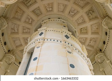 Chambord, France - November 14, 2018: The central column of the  double helix staircase of the Chambord castle
