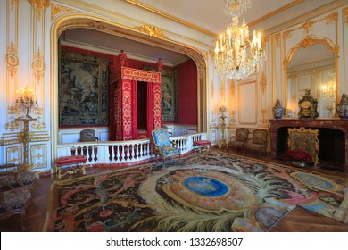 Chambord, France - Chambord, France, October 30 2018 : King's room in the Chambord castle